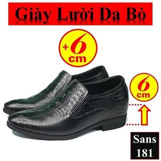 Giày Lười Da Bò Giày Da Tăng Chiều Cao 6cm Giày Tăng Chiều Cao Nam - Giày Lười Da Bò Sans181 thumbnail