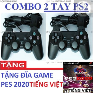 Combo 2 tay cầm game PS2 có rung Tặng 1 GAME PES 2020 tiếng việt - 2 tay + pes 20 thumbnail