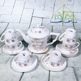 Bộ ấm chén Quà tặng Bộ ấm chén trà sứ Camellia Korea Style dáng tròn bầu Dũng Hà cremics - BTHQTT68 thumbnail