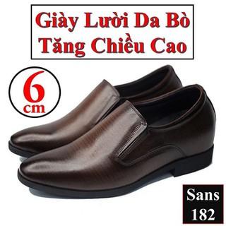 Giày Tăng Chiều Cao Nam 6cm Giày Lười Da Bò Giày Da Bò Nam - Giày Tăng Chiều Cao Sans182 thumbnail