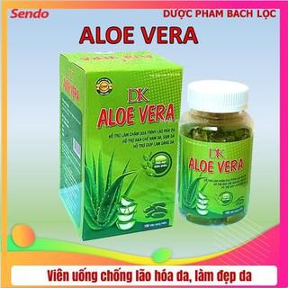 [Hộp 100 viên] Viên Uống Đẹp Da DK Aloe Vera với thành phần Lô Hội 500mg.mầm đậu nành 450mg Hỗ trợ làm giảm quá trình lão hóa da, hết nám da, tàn nhanh, giúp da sáng mịn trắng hồng rạngj rỡ. - Viên Uống Đẹp Da DK Aloe Vera thumbnail