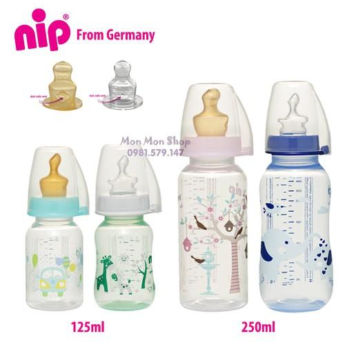 (Made in Germany) Bình sữa PP cổ thường/ cổ hẹp tiêu chuẩn 125ml / 250ml có núm ti chỉnh nha, chống sặc NIP