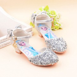 Giày cao gót Elsa công chúa sang trọng màu bạc cho bé từ 3 – 10 tuổi PS2051