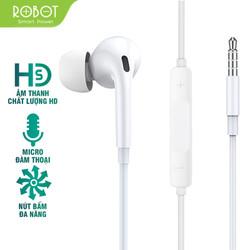 [ HÀNG MỚI VỀ ] Tai nghe có dây ROBOT RE502 nghe nhạc đàm thoại âm thanh sắc nét có micro đàm thoại tương thích với điện thoại Samsung Oppo Xiaomi Huawei iphone - Hàng Chính Hãng