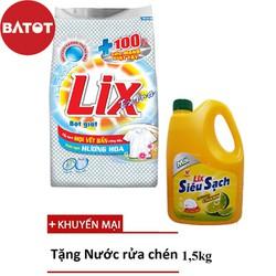 [TẶNG Nước rửa chén 1,4kg] Bột giặt Lix Extra Hương Hoa Túi 5,5kg