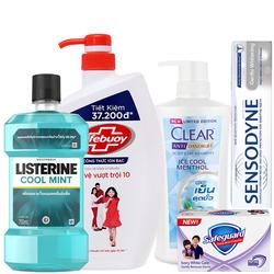 [COMBO SIÊU TIẾT KIỆM] Combo Listerine 750ml, sữa tắm lifebuoy 850g, dầu gội Clear 480ml, Sensodyne 100g và xà phòng Safeguard