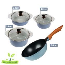 [Hàng chính hãng] Seoulcook (E) Combo 4 món, nồi đúc ceramic cao cấp 20 cm, 22 cm, 24 cm, chảo 28 cm sâu lòng dùng được bếp từ