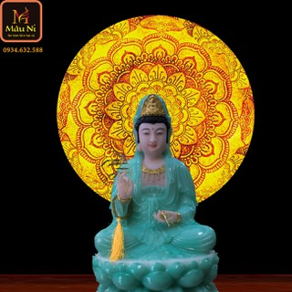 Tranh trúc chỉ in MÂU NI, đường kính 50cm, Vân hoa (thích hợp đặt tượng thờ cao 30cm đến 60cm), đèn thờ, tượng phật - tranhtrucchiin25 thumbnail