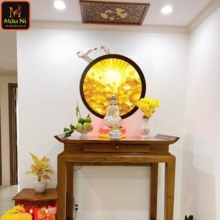 Đèn thờ hoa sen Tranh trúc chỉ in MÂU NI, đường kính 50cm, Sen tia (thích hợp đặt tượng thờ cao 30cm đến 60cm), đèn thờ, tượng phật - tranhtrucchiin26 thumbnail