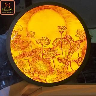 Đèn thờ hào quang Tranh trúc chỉ in MÂU NI, đường kính 40cm, Sen trăng (thích hợp đặt tượng thờ cao 20cm đến 40cm) , đèn thờ, tượng phật - tranhtrucchiin5 thumbnail