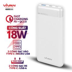 Pin Sạc Dự Phòng 10000mAh VIVAN VPB-M10 2 Input 2 Output Sạc Nhanh PD/QC 3.0 Công Suất 18W Thiết Kế Vân Nhám Cao Cấp - BH 12 THÁNG 1 ĐỔI 1