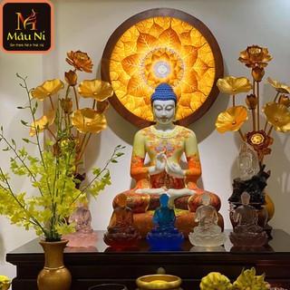 Tượng phật Tranh trúc chỉ in MÂU NI, đường kính 40cm, Lá Bồ Đề (thích hợp đặt tượng thờ cao 20cm đến 40cm), đèn thờ, tượng phật - tranhtrucchiin34 thumbnail
