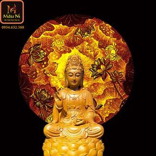 Bàn thờ Phật với Tranh trúc chỉ in MÂU NI, đường kính 30cm, Sen quy tâm (thích hợp đặt tượng thờ cao 15cm đến 30cm), đèn thờ, tượng phật - tranhtrucchiin44 thumbnail