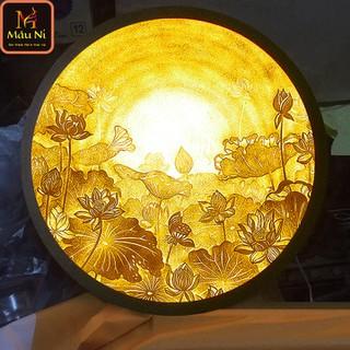 Đèn thờ hào quang Tranh trúc chỉ in MÂU NI, đường kính 40cm, Sen vầng (thích hợp đặt tượng thờ cao 20cm đến 40cm), đèn thờ, tượng phật - tranhtrucchiin32 thumbnail