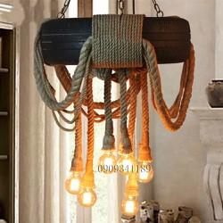 Đèn thả dây thừng,đèn trang trí quán cafe,salon