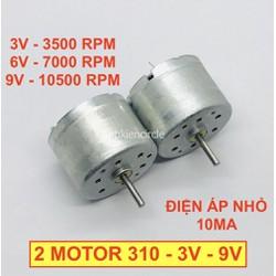 2 Motor mini 310 3v - 9v chạy êm dòng điện nhỏ 10mA tốc độ 3500 - 7000 - 10500 RPM thích hợp làm quạt mini - LK0076