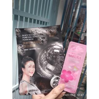 COMBO 1 Mặt nạ THẢI ĐỘC duong da + 1 mat na ngu hoa anh dao trắng min da mặt HANG NOI DIA DAI LOAN - Sài không đã không lấy tiền thumbnail
