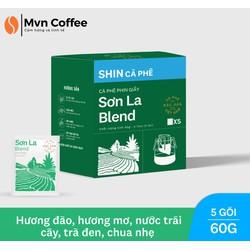 Cafe Đặc Sản Phin Giấy tiện lợi Shin Cà Phê Thượng Hạng - DripBag Sơn La Blend (5 gói) 60g - Hương Vị Thơm đào, mơ, nước trái cây, chua nhẹ - Mvn Coffee