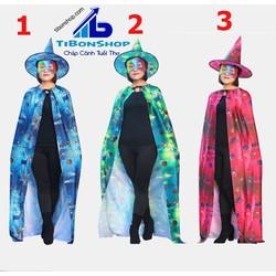 Trang Phục hóa Trang halloween-SET phù thủy áo choàng ,nón và mặt nạ