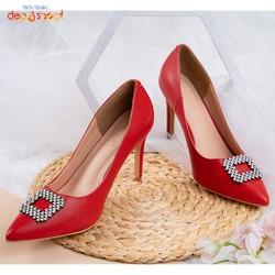 Giày cao gót nữ bít mũi gót nhọn  7 phân big size màu đỏ depvashock