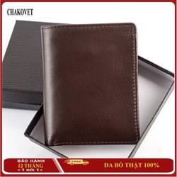 Ví nam da bò thật Chakovet, kiểu bóp nam da bò thật dáng đứng đựng tiền thẻ giấy tờ xe, bóp da nam da bò cao cấp sang trọng
