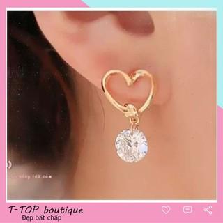 Bông tai nữ hình trái tim, khuyên tai đẹp kiểu dáng thời trang - BÔNG TAI NỮ ĐẸP thumbnail