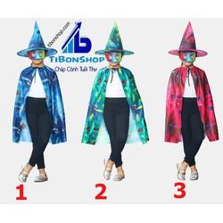 Trang Phục hóa Trang halloween-SET phù thủy áo choàng ,nón và mặt nạ- Nhỏ