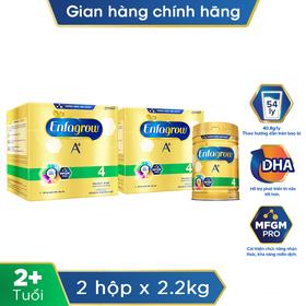 [Tặng 1 lon sữa bột Enfagrow A+ 4 870g] Bộ 2 lon sữa bột Enfagrow A+ 4 360 Brain DHA+ với MFGM PRO cho trẻ từ 2 - 6 tuổi 2.2kg - TUENF0005CB
