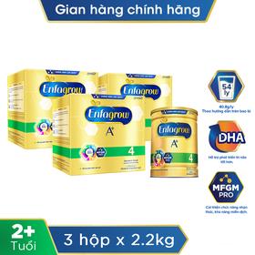 [Tặng 1 lon sữa bột Enfagrow A + 4 1,750g] Bộ 3 lon sữa bột Enfagrow A+ 4 360 Brain DHA+ với MFGM PRO cho trẻ từ 2 - 6 tuổi 2.2kg - TUENF0006CB