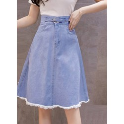 [TRỢ SHIP_CHẤT LƯỢNG] Chân váy jean xòe ngang gối tua rua - Chân váy nữ cao cấp Cài nút