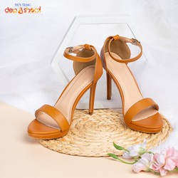 Giày sandal cao gót big size 7 phân quai mảnh ngang phối dây tinh tế màu nâu bò
