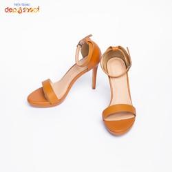 Giày sandal cao gót big size 9 phân  quai mảnh ngang phối dây tinh tế màu nâu