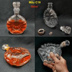 Vỏ chai thủy tinh 500ml đựng rươu cao cấp mẫu X-O REMY – vỏ chai đựng rươu 500ml, bình đựng rươu thủy tinh 500ml – chưng bàn ăn vô cùng sang trọng (Mẫu C16)