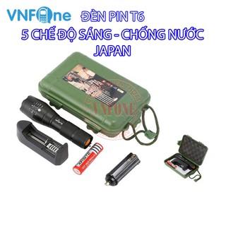 Đèn pin siêu sáng 5 chế độ T6, chiếu xa trăm mét, Bộ sản phẩm gồm có 1 đèn pin led mini cầm tay XML-T6, 1 pin sạc, 1 bộ sạc, 1 dụng cụ xài pin AAA, 1 đồ bảo vệ pin, 1 hộp đựng - M102069054 thumbnail