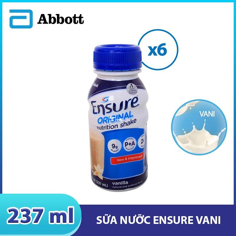 Lốc 6 chai sữa nước Ensure Vani 237ml