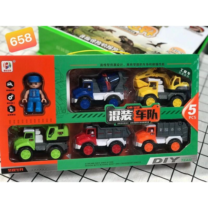 Hộp đồ chơi 5 xe công trình đẹp [miễn ship] – Xe công trình cao cấp