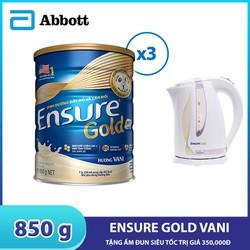 [Tặng ấm đun siêu tốc] Combo 3 lon sữa bột Ensure Gold Vani 850g