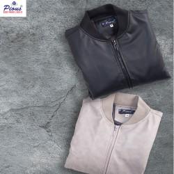 Áo khoác da lót lông nam thời trang cao cấp pious AKD082 xám