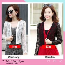 Áo khoác lửng nữ mặc ngoài váy, áo khoác ren dáng lửng phong cách Hàn Quốc