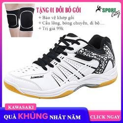 Giày cầu lông, giày bóng chuyền dành cho nam và nữ chính hãng Kawasaki K063 trắng đen êm ái thoáng khí