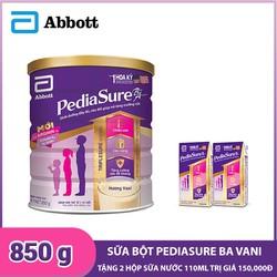 [Tặng 2 hộp sữa nước] Sữa bột Pediasure BA hương Vani 850g