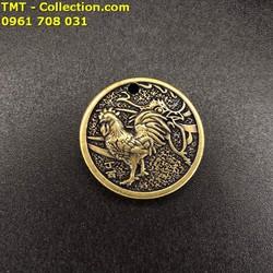 Mặt Đồng Xu Đồng Hình Con Gà được chạm khắc tinh xảo, phù hợp với những người có năm tuổi Gà, có kích thước 3cm - SP002439