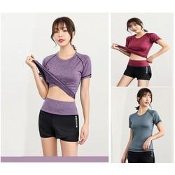 Bộ đồ tập gym, yoga, aerobic nữ áo thun quần đùi, quần áo thể thao nữ