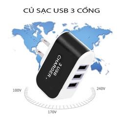 ( HỖ TRỢ PHÍ SHIP KHI MUA 2 SẢN PHẨM ) CỦ SẠC USB 3 CỔNG- SẠC NHANH