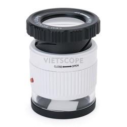 Kính lúp cầm tay phóng đại 30x cao cấp kèm đèn LED và đèn UV soi giấy tờ 9006B