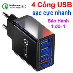 Củ Sạc Nhanh Qualcomm QC 3.0 (4 Cổng USB), Chip Thông Minh An Toàn cho đa dòng điện thoại, ipad (Q4)
