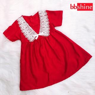 Đầm xòe đỏ phối ren đáng yêu cho bé 1-7 tuổi chất cotton nhẹ mát họa tiết đơn giản nhẹ nhàng BBShine – D067