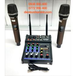 Mixer G4 live stream được hỗ trợ màn hình LED có bluetooth kiêm 2 mic không dây tiện cho oto loa kéo và các loa khác