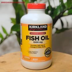 Viên uống Dầu cá Fish Oil 1000mg Kirkland Signature Hộp 400 Viên Nắp Đỏ chăm sóc sức khỏe gia đình cũng như phòng ngừa các bệnh tim mạch, bổ sung  có chứa DHA, EPA rất tốt cho sự hoàn thiện của não bộ và võng mạc