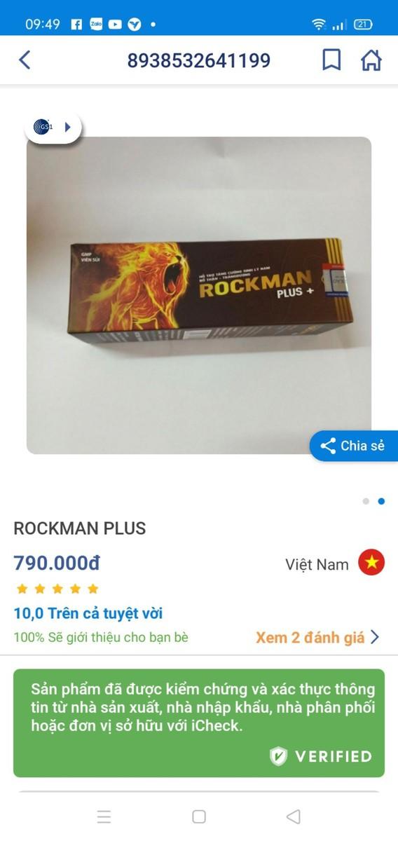 Viên Sủi Rockman Pluz Tăng Cường Sinh Lý Nam Giới, Mạnh Hơn, Bền Bỉ Hơn, Mang Lại Phong Độ bản lĩnh đàn ông-Tuýp 10 viên - Viên Sủi Rockman Pluz 1